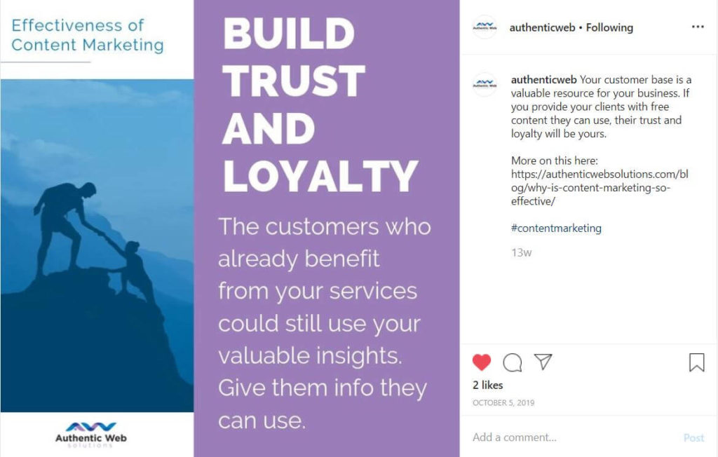 Build Trust and Loyalty Effectiveness of Content Marketing Instagram Screenshot
