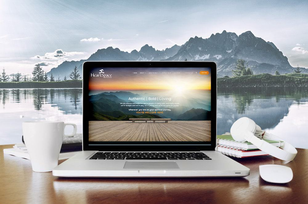 Homepage of Website for Heartspace Spiritual Center on laptop