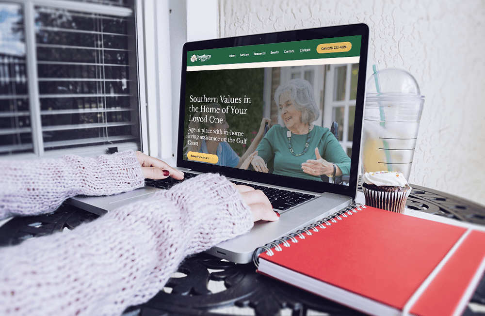 Lap top with Southern Living Assistance Services' website on the screen