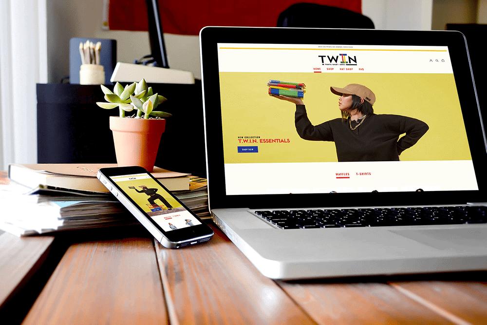 TWIN.com Website on a laptop