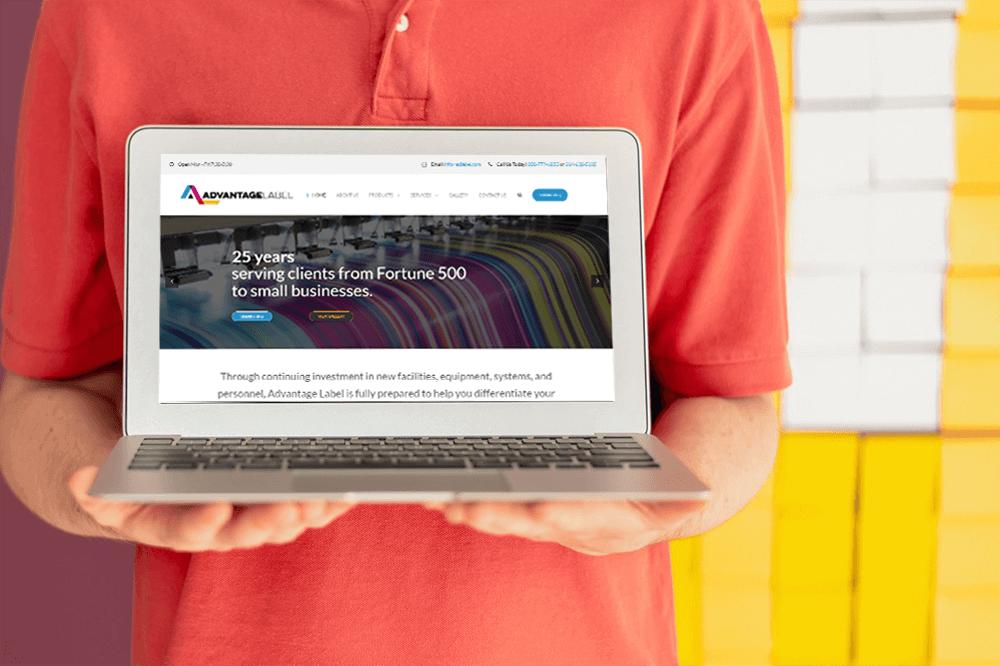 Advantage Label Website on a laptop