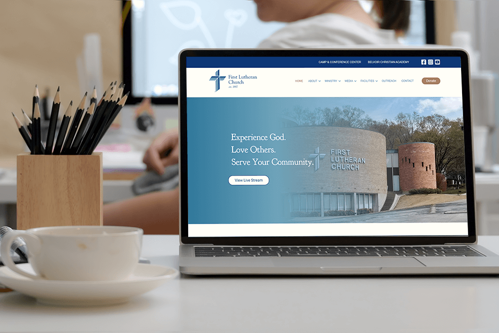 Website of First Lutheran Church Chattanooga on a laptop